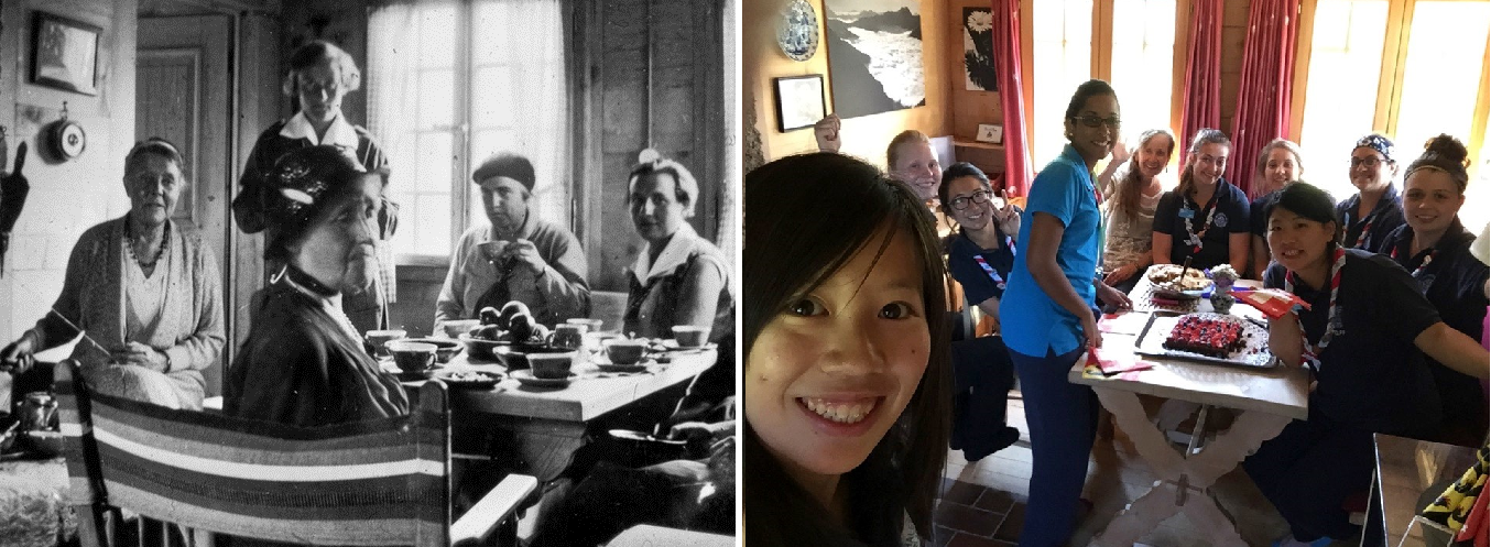 Having tea at Our Chalet: Then (with founder Helen Storrow) and Now (with Sue and friends)!