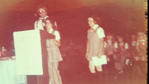 Carla Corkern featured at the podium, as she was named Girl Scout of the Year in 1976 for the Silver Waters Council.