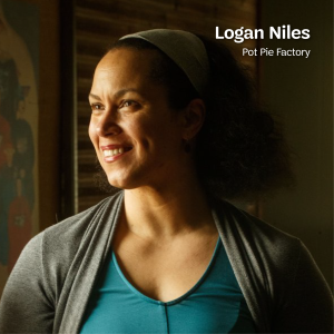 A sunlit portrait of Logan Niles, owner of Pot Pie Factory. With text that says Logan Niles, Pot Pie Factory at the top.