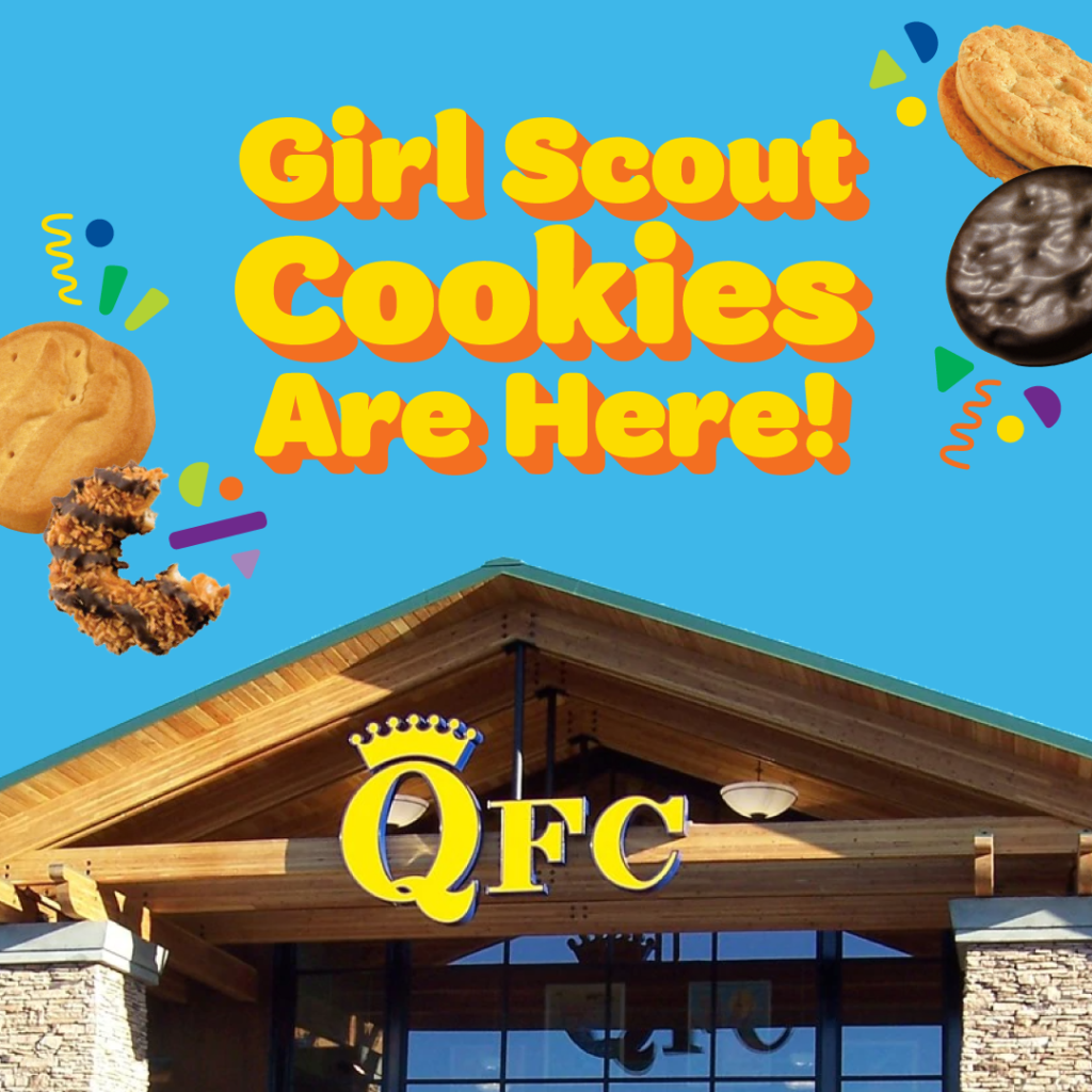 """QFC store sign and rooftop beneath blue background with yellow words reading, """"Girl Scout Cookies are here!"""""""
